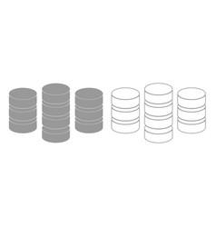 Coins grey set icon vector