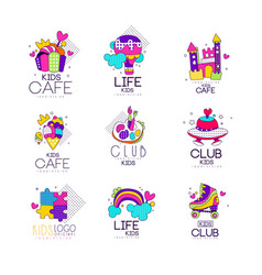 Collection of kids logo templates set kids cafe vector