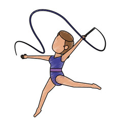 Colorful doodle artistic gymnast over white vector