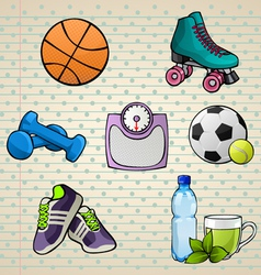 Colorful Sport Elements Set vector image vector image