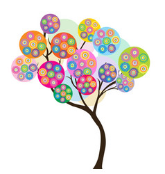 colorful tree with circles dotted flowers vector image