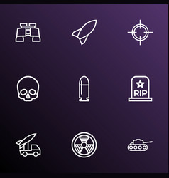 combat icons line style set with skull binoculars vector image