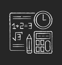 Computational exam chalk white icon on black vector
