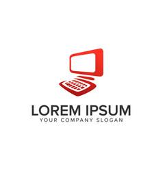 computer logo design concept template vector image