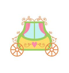 cute princess fairytale carriage cartoon vector image
