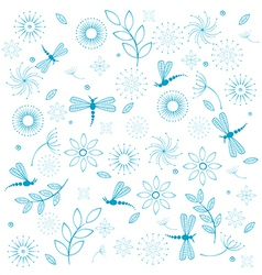 Dragonflies flowers seamless background vector