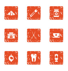Drug delivery icons set grunge style vector