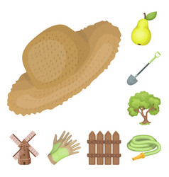 Farm and gardening cartoon icons in set collection vector