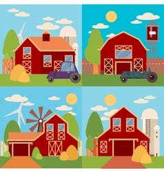 Farm in the village flat Landscape Natural vector