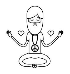 Figure man meditation with hearts and beard vector