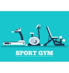 Fitness sport gym exercise equipment workout flat vector