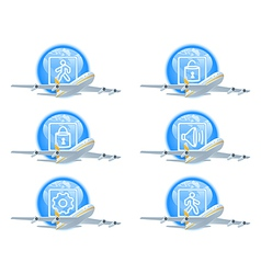 Flight status icon set vector image