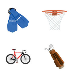 Flippers for swimming basketball basket net vector