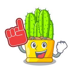 foam finger cereus cactus with flower buds cartoon vector image