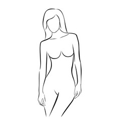 Front view female stylized body contour vector