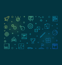 games concept colorful outline vector image