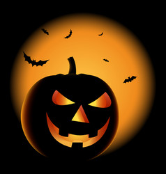 ghostly halloween poster with grinning pumpkin vector image