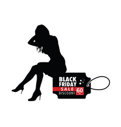 Girl silhouette sitting on black friday vector