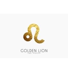 Golden lion Golden zodiac sign Lion zodiac vector image