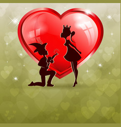 Green background with a shiny red heart and with a vector