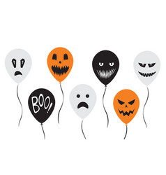 halloween banner with colorful balloon funny vector image