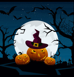halloween pumpkins and dark vector image