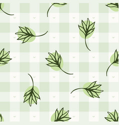 Hand drawn thyme herb twig gingham seamless vector