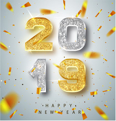 happy new year 2019 greeting card with gold vector image