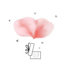 Happy valentines day with rose petals and gift box vector