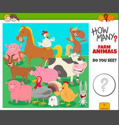 How many farm animals educational task for vector