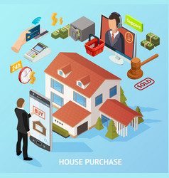 isometric home purchase background vector image