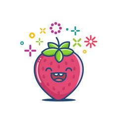 Kawaii smiling strawberry emoticon cartoon vector