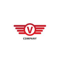 Letter v initial abjad logo design template vector