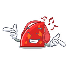 listening music quadrant mascot cartoon style vector image