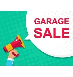Megaphone with garage sale announcement flat vector