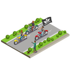 Motocross bikers isometric composition vector