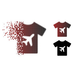 Moving pixel halftone man t-shirt icon vector