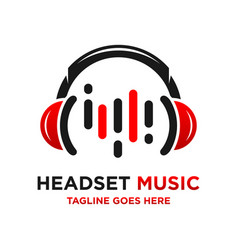 music headset logo vector image
