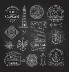 Nautical labels on chalkboard background vector