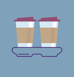 Outline coffee to go icon vector
