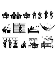 people reading book at different places pictogram vector image