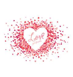 pink hearts confetti heart shape frame vector image