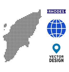 Pixelated greek rhodes island map vector