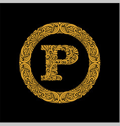 Premium elegant capital letter p in a round frame vector