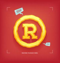 Registered trademark symbol golden jewel typeface vector