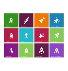 Rocket icons on color background vector
