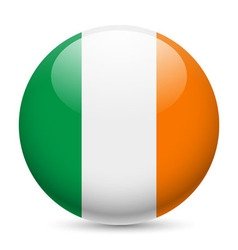 Round glossy icon of ireland vector