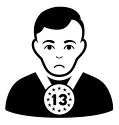 Sad 13th prizer sportsman black icon vector