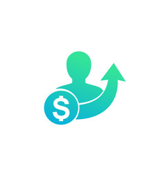 Salary increase icon isolated on white vector