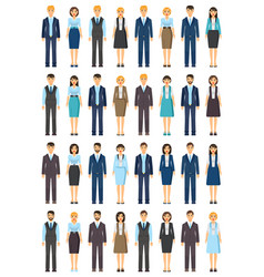 Set cartoon office workers wearing office cloth vector